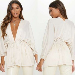 Pretty Little Thing Cream Textured Woven Blouse